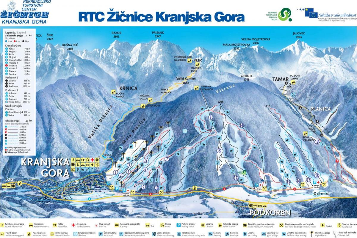 Map of Slovenia ski resorts